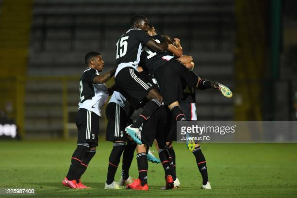 Luca Zanimacchia of Juventus U23 celebrates his goal with teammates during the Serie C Playoffs match between Juventus U23 and Padova at Stadio...
