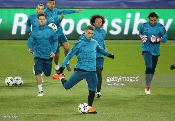 Luca Zidane Cristiano Ronaldo Marcelo Vieira da Silva Keylor Navas of Real Madrid during Real Madrid's training on the eve of UEFA Champions League...