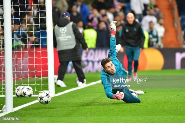 Luca Zidane Fernandez of Real Madrid warms up before the Champions League match between Real Madrid and Paris Saint Germain at Estadio Santiago...
