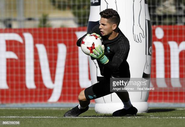 Luca Zidane of Real Madrid in action during a training session at Valdebebas training ground on October 25 2017 in Madrid Spain