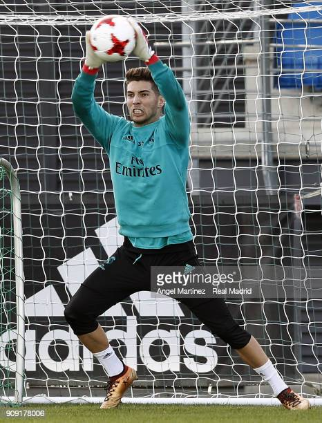 Luca Zidane of Real Madrid in action during a training session at Valdebebas training ground on January 23 2018 in Madrid Spain