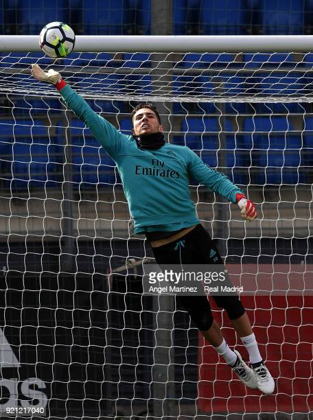 Luca Zidane of Real Madrid in action during a training session at Valdebebas training ground on February 20 2018 in Madrid Spain