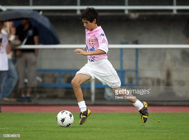 Luca Zidane the son of Zinedine Zidane the former French football star during the annual football match between players caddies sporting stars and...