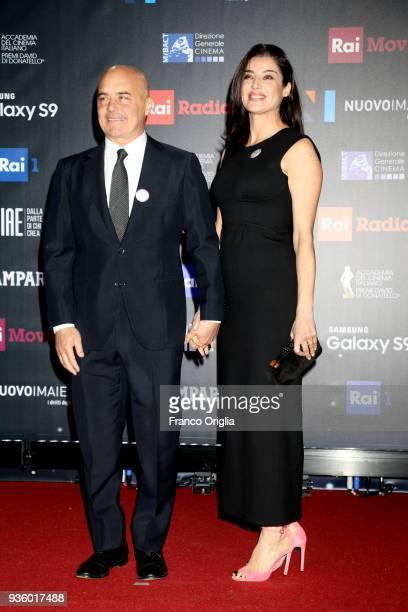 Luca Zingaretti and Luisa Ranieri walk a red carpet ahead of the 62nd David Di Donatello awards ceremony on March 21 2018 in Rome Italy