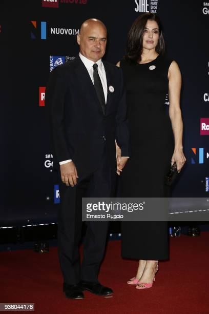 Luca Zingaretti and Luisa Ranieri walk the red carpet ahead of the 62nd David Di Donatello awards ceremony on March 21 2018 in Rome Italy