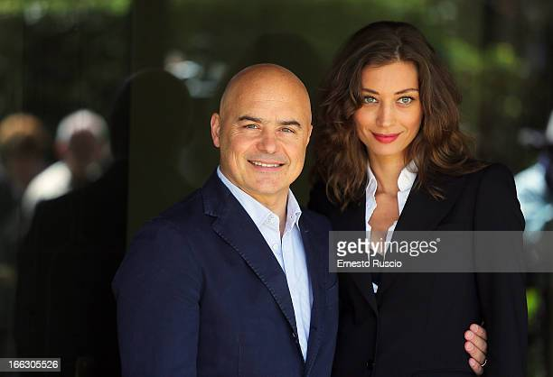 Luca Zingaretti and Margareth Made attend the 'Il Commissario Montalbano' photocall at RAI on April 11 2013 in Rome Italy