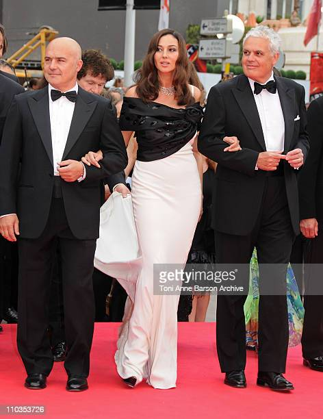Luca Zingaretti Monica Bellucci and director Marco Tullio Giordana attend the 'Wild Blood' premiere at the Palais des Festivals during the 61st...