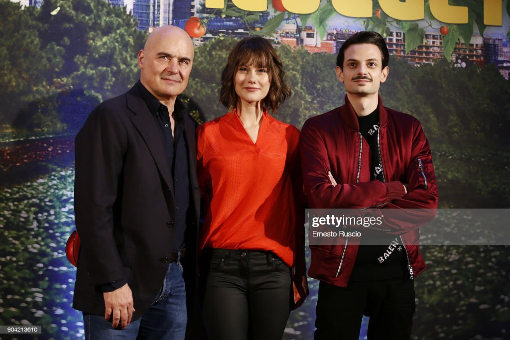 Luca Zingaretti, Paola Calliari and Fabio Rovazzi attend 'Il Vegetale' photocall In Rome at Hotel St Regis on January 12, 2018 in Rome, Italy.
