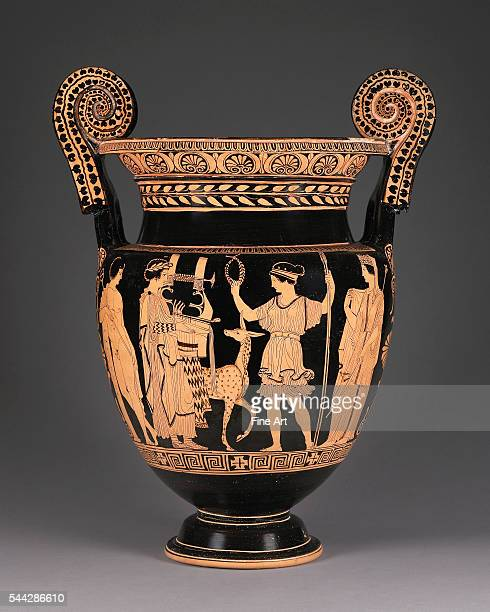 Lucanian RedFigure Volute Krater or Mixing Vessel with Apollo and Artemis attributed to the Palermo Painter 415400 BC terracotta made in Lucania...