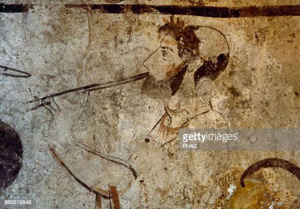 Lucanian tombstone depicting a satyr or musician playing the flute Magna Graecia Greek style painting with italic influence 4th century BC National...