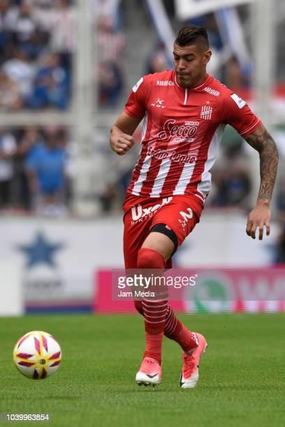 Lucas Acevedo of San Martin in action during a match between Velez Sarsfield and San Martin de Tucuman as part of Superliga 2018/19 at Jose...