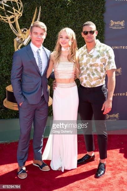 Lucas Adams Olivia Keegan and Kyler Pettis arrive at the 44th Annual Daytime Emmy Awards at Pasadena Civic Auditorium on April 30 2017 in Pasadena...
