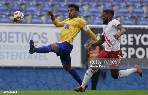 Lucas Africo of GD Estoril Praia with Isidoro Hinestroza of UD Vilafranquense in action during the Liga Pro match between GD Estoril Praia and UD...