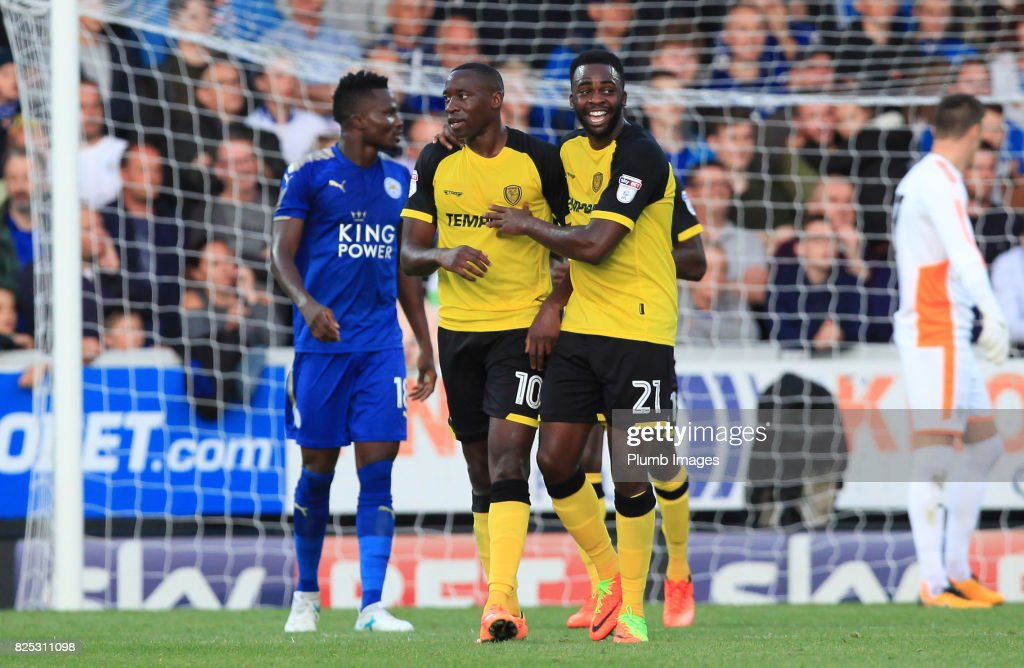 Lucas Akins of Burton Albion celebrates with Hope Akpan of Burton Albion after scoring to make it 2-0 during the pre season friendly between Burton Albion and Leicester City at Pirelli Stadium on August 1st, 2017 in Burton-upon-Trent, United Kingdom