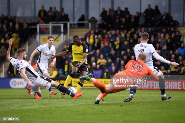 Lucas Akins of Burton Albion shoots and misses during the Sky Bet Championship match between Burton Albion and Bolton Wanderers at Pirelli Stadium on...