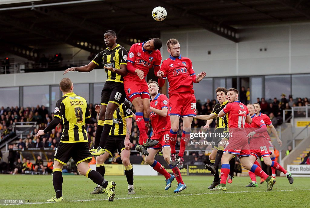 Lucas Akins of Burton Albion wins this header from a Burton Albion corner during the Sky Bet League One match between Burton Albion and Oldham Athletic at Pirelli Stadium on March 26, 2016 in Burton-upon-Trent, England.