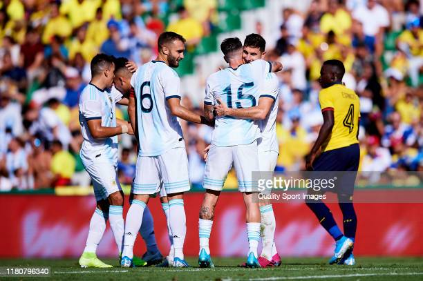 Lucas Alario of Argentina celebrates scoring his team's goal during the international friendly match between Ecuador and Argentina at Estadio Manuel...
