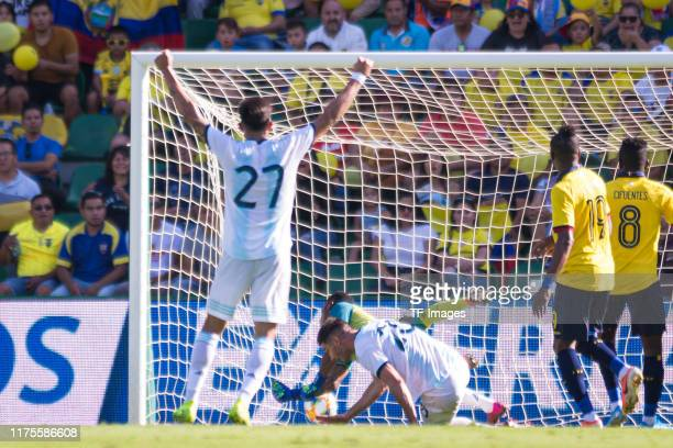 Lucas Alario of Argentina scores his teams first goal during the UEFA Euro 2020 qualifier between Ecuador and Argentina on October 13, 2019 in Elche,...