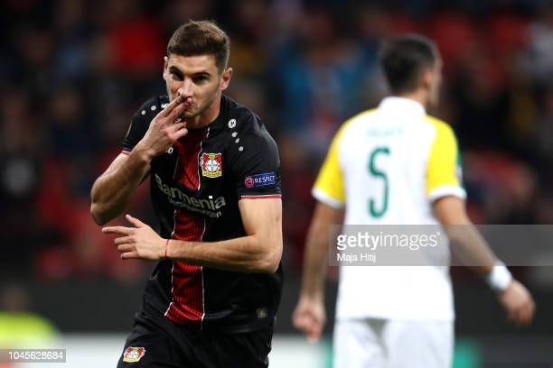 Lucas Alario of Bayer 04 Leverkusen celebrates after scoring his team's second goal during the UEFA Europa League Group A match between Bayer 04...