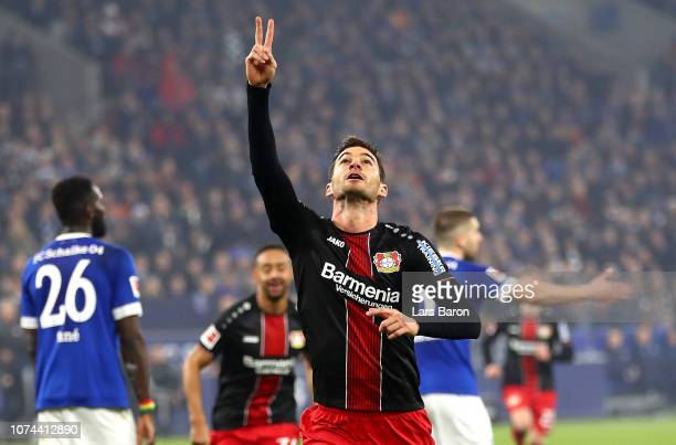 Lucas Alario of Bayer 04 Leverkusen celebrates after scoring his team's second goal during the Bundesliga match between FC Schalke 04 and Bayer 04...