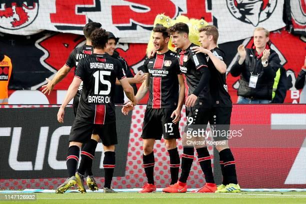 Lucas Alario of Bayer 04 Leverkusen celebrates scoring his sides fifth goal during the Bundesliga match between Bayer 04 Leverkusen and Eintracht...