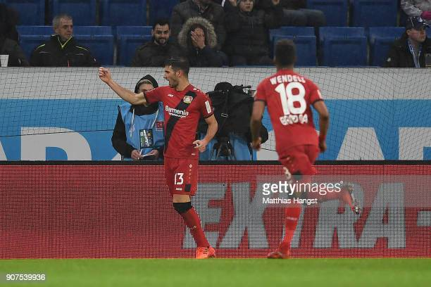 Lucas Alario of Leverkusen celebrates after he scored a goal to make it 03 as Wendell of Bayer Leverkusen comes running to him during the Bundesliga...