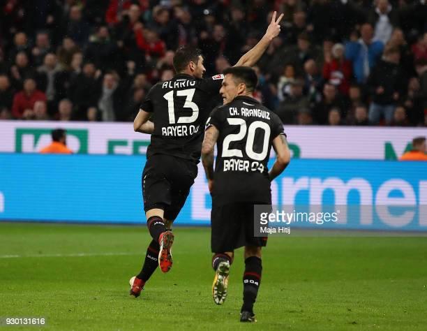 Lucas Alario of Leverkusen celebrates after he scored a goal to make it 10 during the Bundesliga match between Bayer 04 Leverkusen and Borussia...