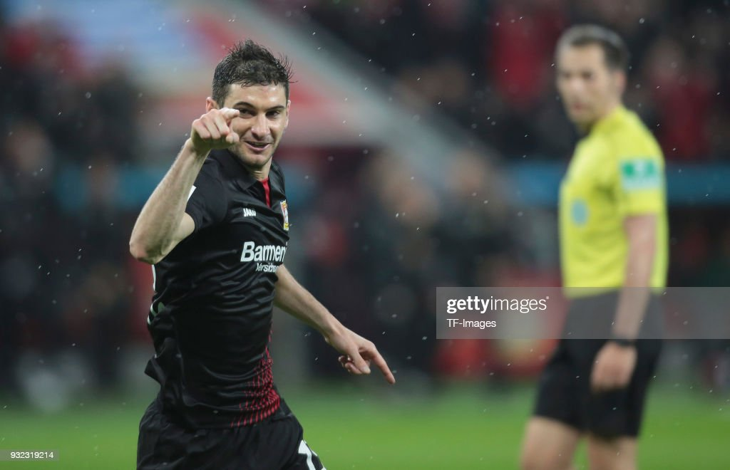 Lucas Alario of Leverkusen celebrates after scoring his team's first goal during the Bundesliga match between Bayer 04 Leverkusen and Borussia Moenchengladbach at BayArena on March 10, 2018 in Leverkusen, Germany.