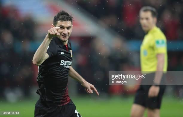 Lucas Alario of Leverkusen celebrates after scoring his team's first goal during the Bundesliga match between Bayer 04 Leverkusen and Borussia...