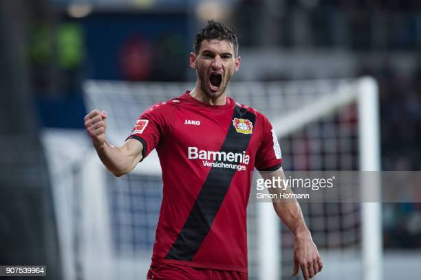 Lucas Alario of Leverkusen celebrates his team's third goal during the Bundesliga match between TSG 1899 Hoffenheim and Bayer 04 Leverkusen at Wirsol...