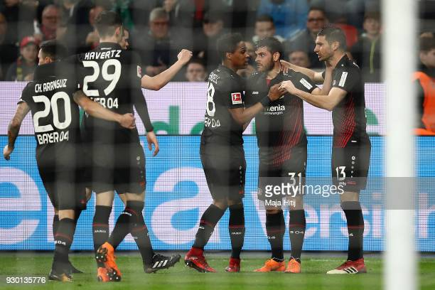 Lucas Alario of Leverkusen celebrates with his team after he scored a goal to make it 10 during the Bundesliga match between Bayer 04 Leverkusen and...