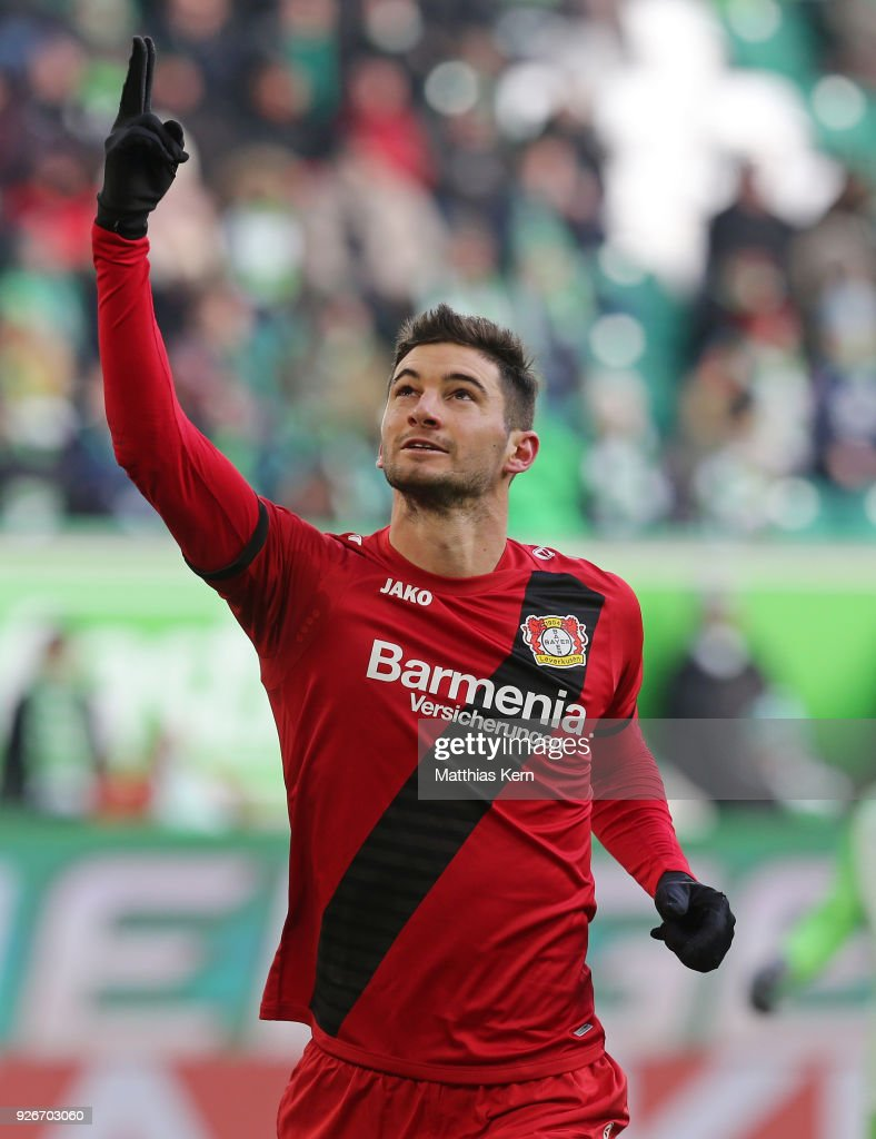Lucas Alario of Leverkusen jubilates after scoring the first goal after penalty during the Bundesliga match between VfL Wolfsburg and Bayer 04 Leverkusen at Volkswagen Arena on March 3, 2018 in Wolfsburg, Germany.
