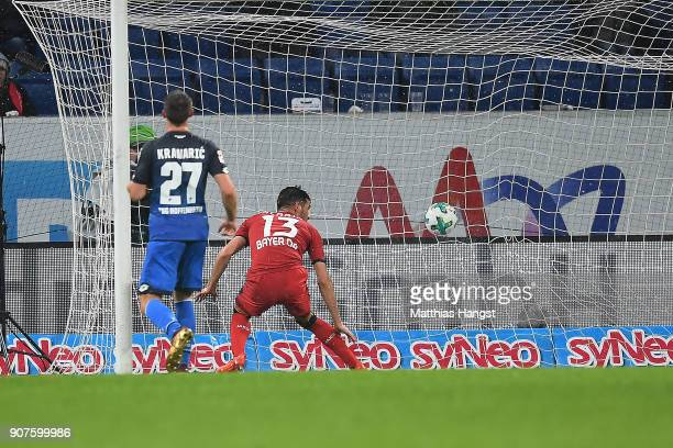 Lucas Alario of Leverkusen scores a goal to make it 14 during the Bundesliga match between TSG 1899 Hoffenheim and Bayer 04 Leverkusen at Wirsol...