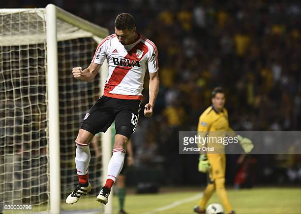 Lucas Alario of River Plate celebrates after scoring during a final match between River Plate and Rosario Central as part of Copa Argentina 2016 at...