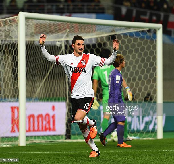Lucas Alario of River Plate celebrates after scoring during the FIFA Club World Cup semi final match between Sanfrecce Hiroshima and River Plate at...