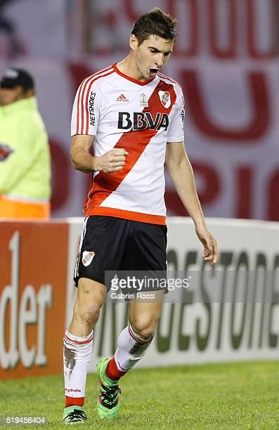 Lucas Alario of River Plate celebrates after scoring the fifth goal of his team during a match between River Plate and The Strongest as part of Copa...