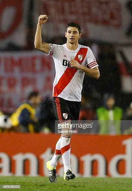 Lucas Alario of River Plate celebrates after scoring the first goal of his team during a second leg final match between River Plate and Tigres UANL...