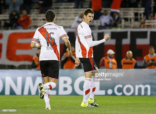 Lucas Alario of River Plate celebrates after scoring the first goal of his team during a first leg match between River Plate and Liga Deportiva...