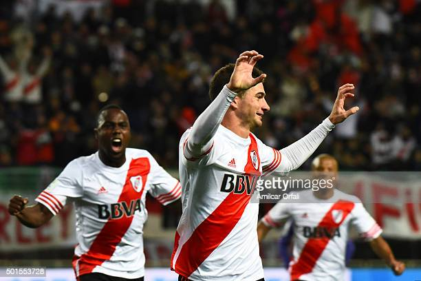 Lucas Alario of River Plate celebrates after scoring the opening goal during the FIFA Club World Cup semi final match between Sanfrecce Hiroshima and...