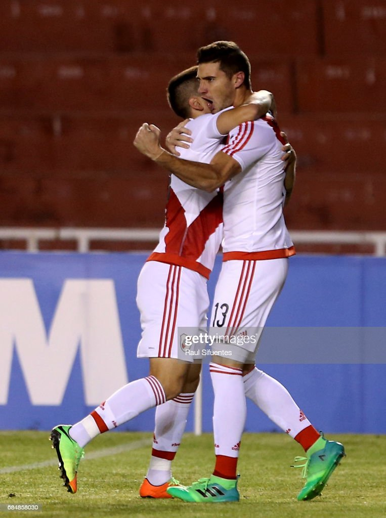 Lucas Alario of River Plate celebrates after scoring the opening goal team during a group stage match between FBC Melgar and River Plate as part of Copa CONMEBOL Libertadores Bridgestone 2017 at Monumental de la UNSA Stadium on May 18, 2017 in Arequipa, Peru.