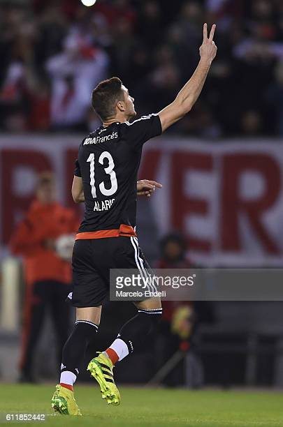 Lucas Alario of River Plate celebrates after scoring the second goal of his team during a match between River Plate and Velez Sarsfield as part of...