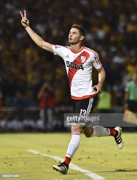 Lucas Alario of River Plate celebrates after scoring the second goal of his team during a final match between River Plate and Rosario Central as part...