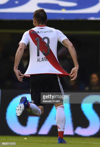 Lucas Alario of River Plate celebrates after scoring the second goal of his team during a match between Boca Juniors and River Plate as part of...