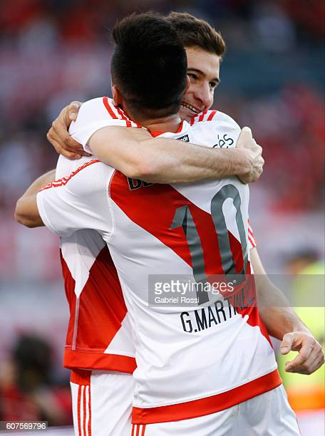 Lucas Alario of River Plate celebrates with teammate Gonzalo Martinez after scoring the opening goal during a match between River Plate and San...