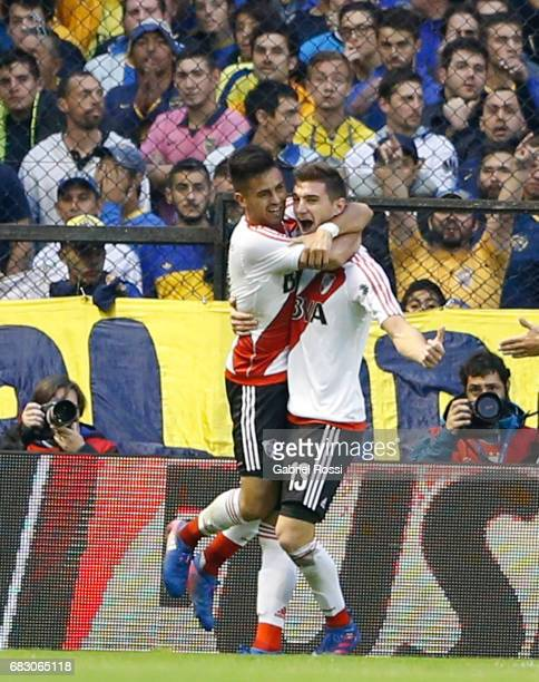 Lucas Alario of River Plate celebrates with teammate Gonzalo Martinez after scoring the second goal of his team during a match between Boca Juniors...