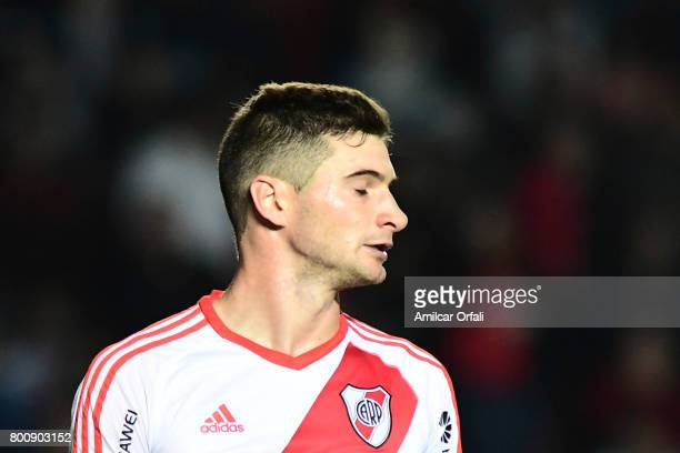 Lucas Alario of River Plate gestures during a match between Colon and River Plate as part of Torneo Primera Division 2016/17 at Brigadier Lopez...