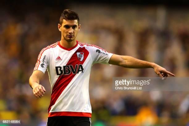 Lucas Alario of River Plate gestures during the Torneo Primera Division match between Boca Juniors and River Plate at Estadio Alberto J Armando on...