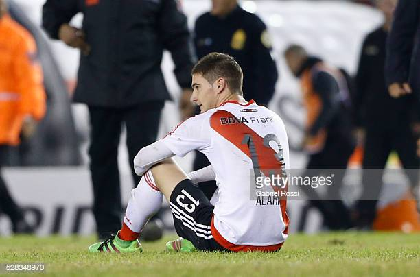 Lucas Alario of River Plate looks on at the end of a second leg match between River Plate and Independiente del Valle as part of round of 16 of Copa...