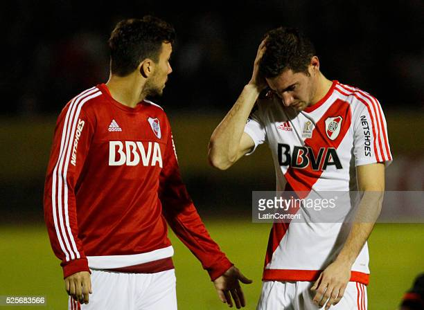 Lucas Alario of River Plate looks on during a first leg match between Independiente del Valle and River Plate as part of round if 16 of Copa...