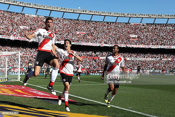 Lucas Alario of River Plates celebrates scoring his team's second goal during the Argentine Primera Division match between River Plate and Boca...